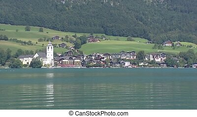 WOLFGANGSEE mountain lake, village at opposite side -...