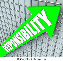 Responsibility Word Green Arrow Rising Accepting Obligation...