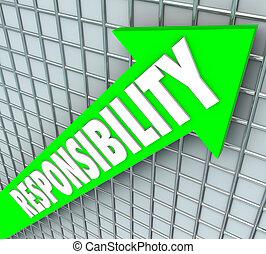 Responsabilidad, palabra, verde, flecha, levantamiento,...