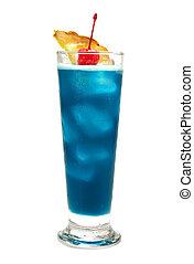 cocktail, collezione, -, blu, hawaiano,