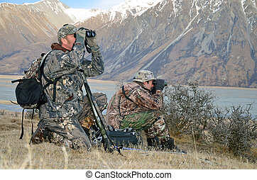 Hunters on the lookout - Hunters looking for Himalayan tahr...