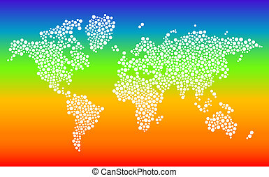 Stylized dotted world map on gradient background
