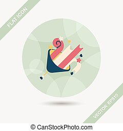 birthday party horn flat icon with long shadow,eps10