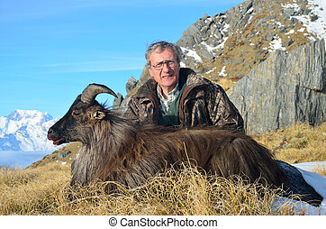 trophy tahr - Succesful hunter with the introduced Himalayan...