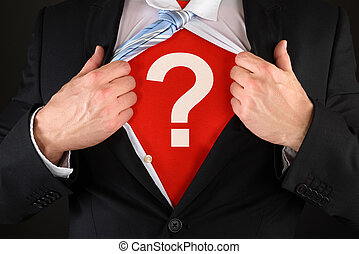 Businessman Showing Question Mark Symbol - Close-up Of A...