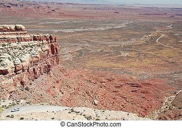 montanha, panorâmico, topo,  Utah,  momument, vale, vista