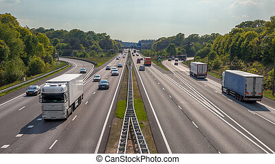 Aerial view of Trucks and cars on the A12 Freeway - Right...
