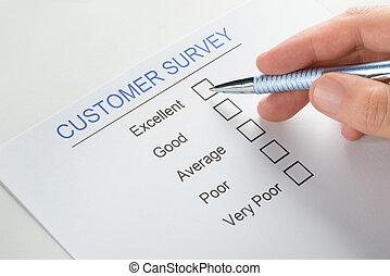 人, 手, 由于, 鋼筆, 在上方, 顧客, 調查, 形式,...