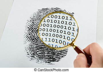 Hand With Magnifying Glass Over A Finger Print - Person Hand...