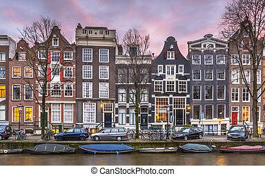 detalhe, de, canal, casas, ligado, a, Brouwersgracht, em,...