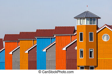 Terraced Colorful Houses - Wooden Houses in various Colors...