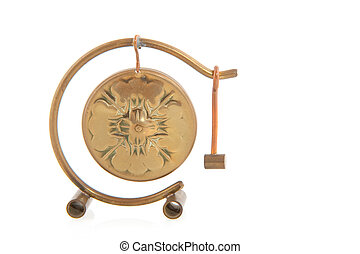 copper gong - Chinese copper gong with hammer isolated over...