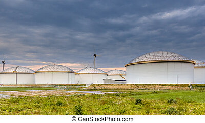 big oil tank terminal - Panorama of a huge strategic fuel...