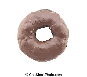 chocolate donut isolated on white background - Black...
