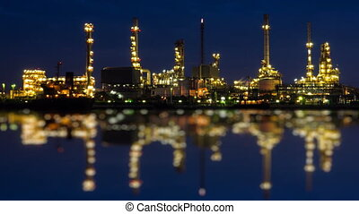 Oil Refinery Station Night To Day - Time Lapse Oil Refinery...