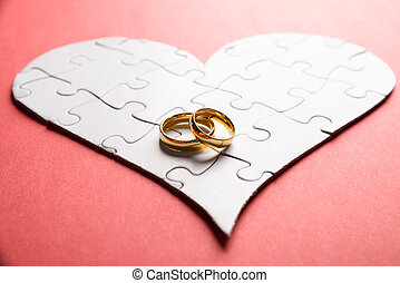 Rings On Heart Made Of Puzzle - Golden Rings On Heart Made...
