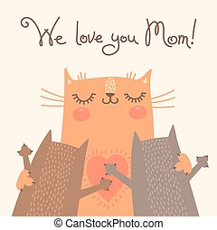Sweet card for Mothers Day with cats Vector illustration