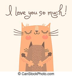 Sweet card for Mothers Day with cats. Vector illustration.