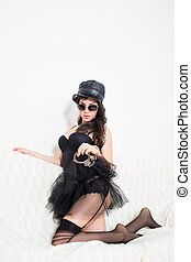 sexy woman with handcuffs in fashion glasses - sexy police...