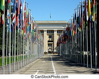 United Nations in Geneva, Switzerland - Flags of every...