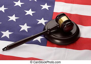 Wooden Gavel Over Usa Flag
