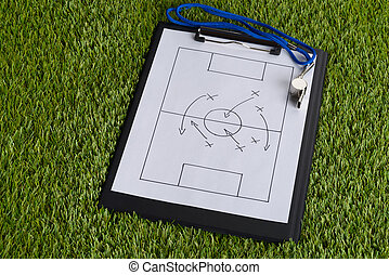 Whistle And Soccer Tactic Diagram On Paper - Whistle And...