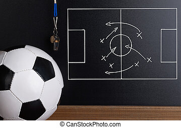 Football Play Strategy Drawn Out On A Chalk Board With...