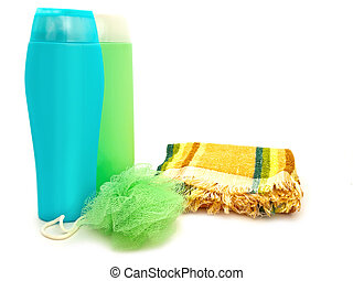 bath accessory - plastic bottle near multicolored towel with...