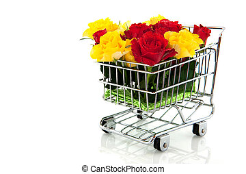 shopping cart with roses
