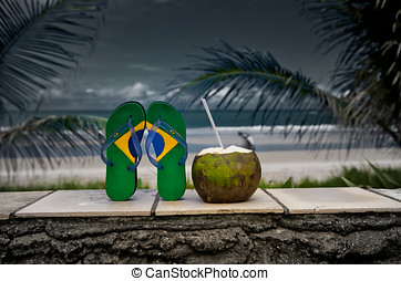 Brazilian Flipflop - Brazilian flipflop with a coconut on...