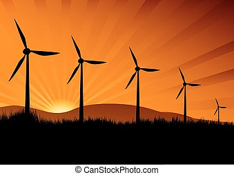 wind turbine in the sunset with sun rays