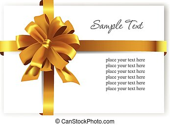 Gold gift bow with ribbons Vector illustration