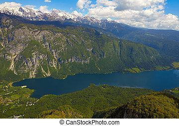 Lake Bohinj from Vogel cable car top station Julian Alps...