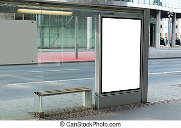 Blank Billboard On Bus Stop For Advertising In City