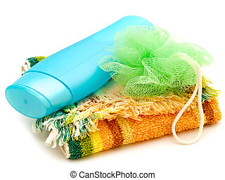 bath accessory - plastic bottle at multicolored towel with...