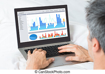 Businessman Analyzing Graphs On His Laptop - Mature...