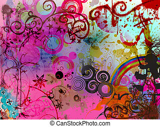 Graphical background - Background with various shapes and...
