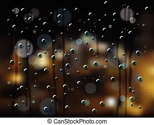 rain drops night city - rain drops on glass with blurry...