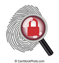 finger print with magnifying glass