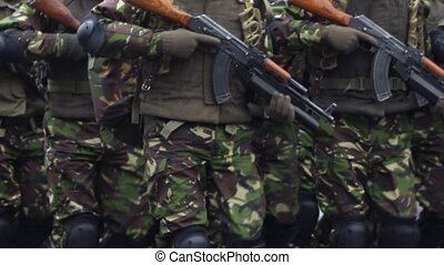 Marines with Rifles - Close up shot of marines soldiers,...