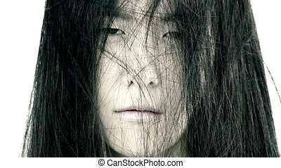 Horror expression of asian woman - Closeup of asian woman...