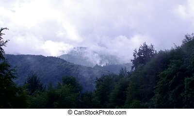 Mist Rises in Wild Mountains - In the wilderness nature of...
