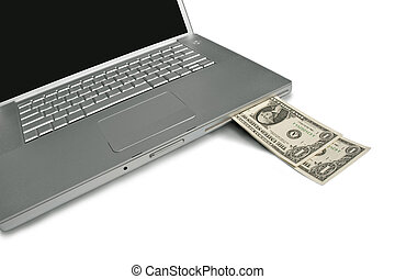 Cash coming out of a laptop Make money with your computer...