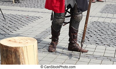Medieval Knight Boots - Heavy armored knight wearing leather...