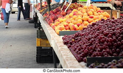Market Fruit Stalls - Cherries, apricots, peaches, cherries...