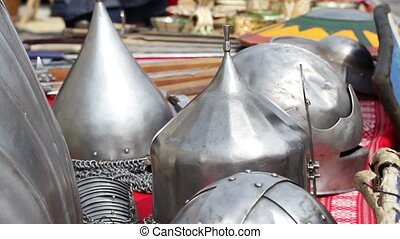 Middle Age War Helmets - Various models of medieval steel...