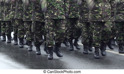 Military Marchpast - Close-up shot with soldiers in black...