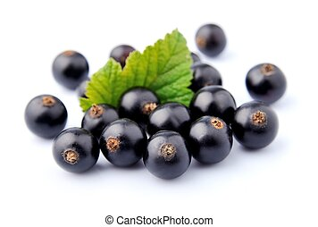 Blackcurrant with leafs on white  background