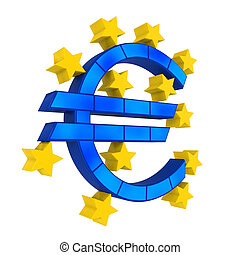 European Union Symbol isolated on white background 3D render...