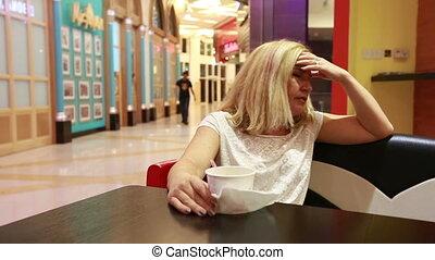 Sad woman - Woman in Depression, eating ice cream